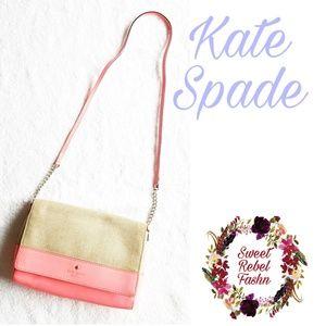 Kate Spade Pink Burlap crossbody purse